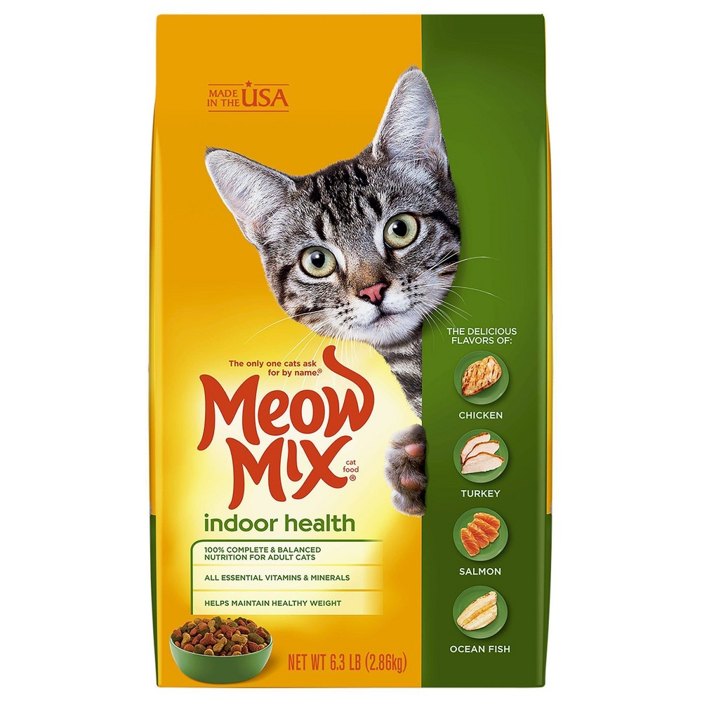 Meow Mix Indoor Health With Flavors Of Chicken Turkey 38 Salmon Adult Complete 38 Balanced Dry Cat Food 6 3lbs