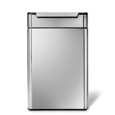simplehuman 48L Touch Bar Dual Compartment Recycling Step Trash Can Brushed Stainless Steel