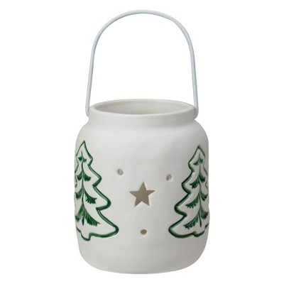 "Northlight 4"" White and Green Christmas Votive Candle Holder"