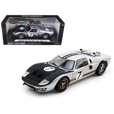 1966 Ford GT-40 MK II #7 Silver 1/18 Diecast Model Car by Shelby Collectibles