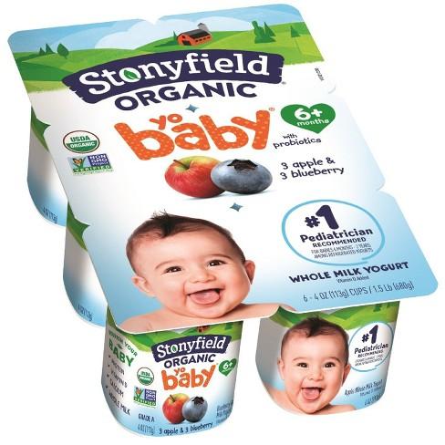 Stonyfield Organic YoBaby Apple & Blueberry Kids' Yogurt - 6ct/4oz cups - image 1 of 1