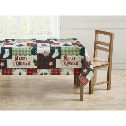 Kate Aurora Holiday Living Plaid Country Farmhouse Merry Christmas Fabric Tablecloth - image 1 of 2