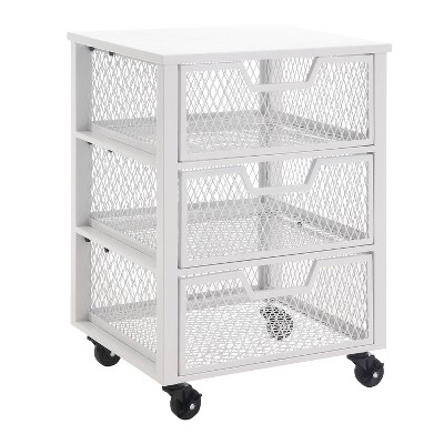 3 Drawer Clinton Metal Rolling Cart White - OSP Home Furnishings