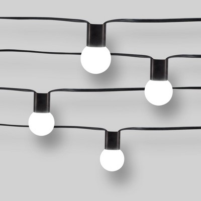 10ct String Lights Black Collar - G40 Frosted White Bulbs - Project 62™
