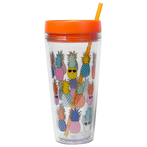 2e566c4669d Cool Gear Plastic Tumbler With Lid And Straw 24oz Pineapples - Orange