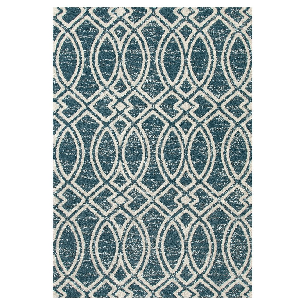 Image of Aqua Abstract Woven Area Rug - (8'X10') - Art Carpet, Blue