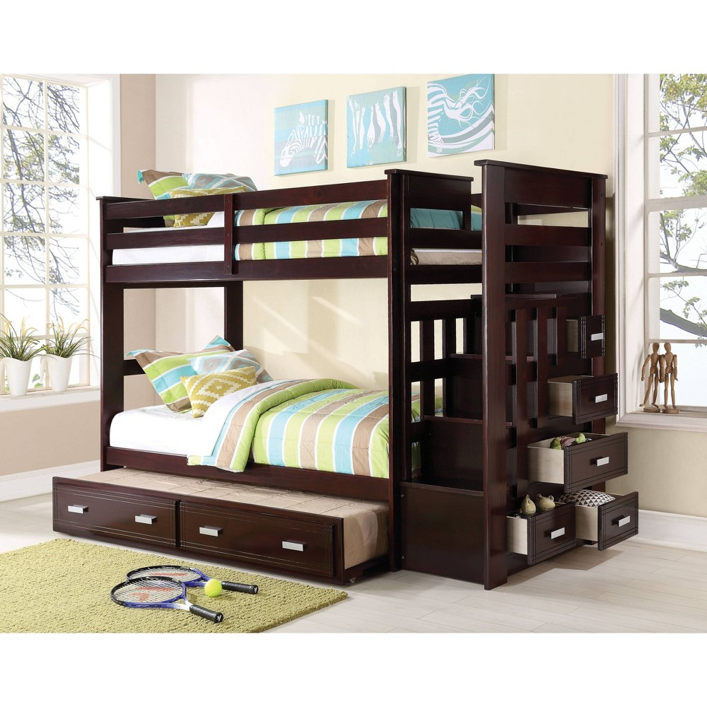 Twin Over Twin Allentown Bunk Bed with Storage Ladder/Trundle Espresso - Acme, Espresso Brown