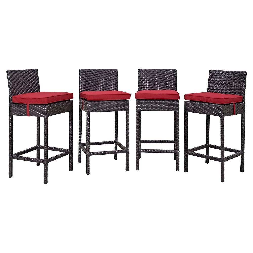 Convene 4pc All-Weather Wicker Patio Dining Chairs - Espresso/Red - Modway