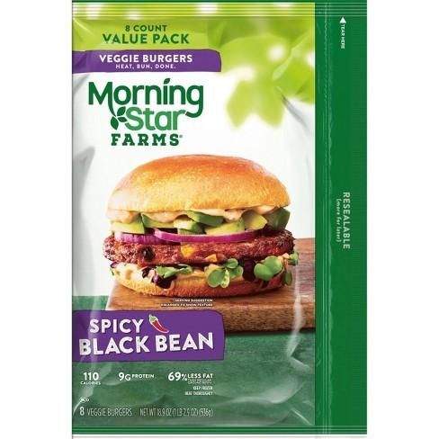 Morningstar Farms Spicy Black Bean Veggie Burgers Frozen 18 9oz 8ct Target