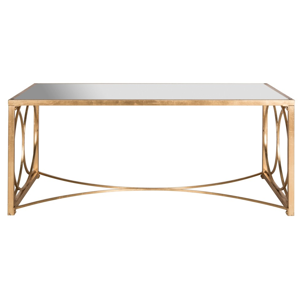 Melosa Coffee Table - Gold with Mirror - Safavieh, Antique Gold