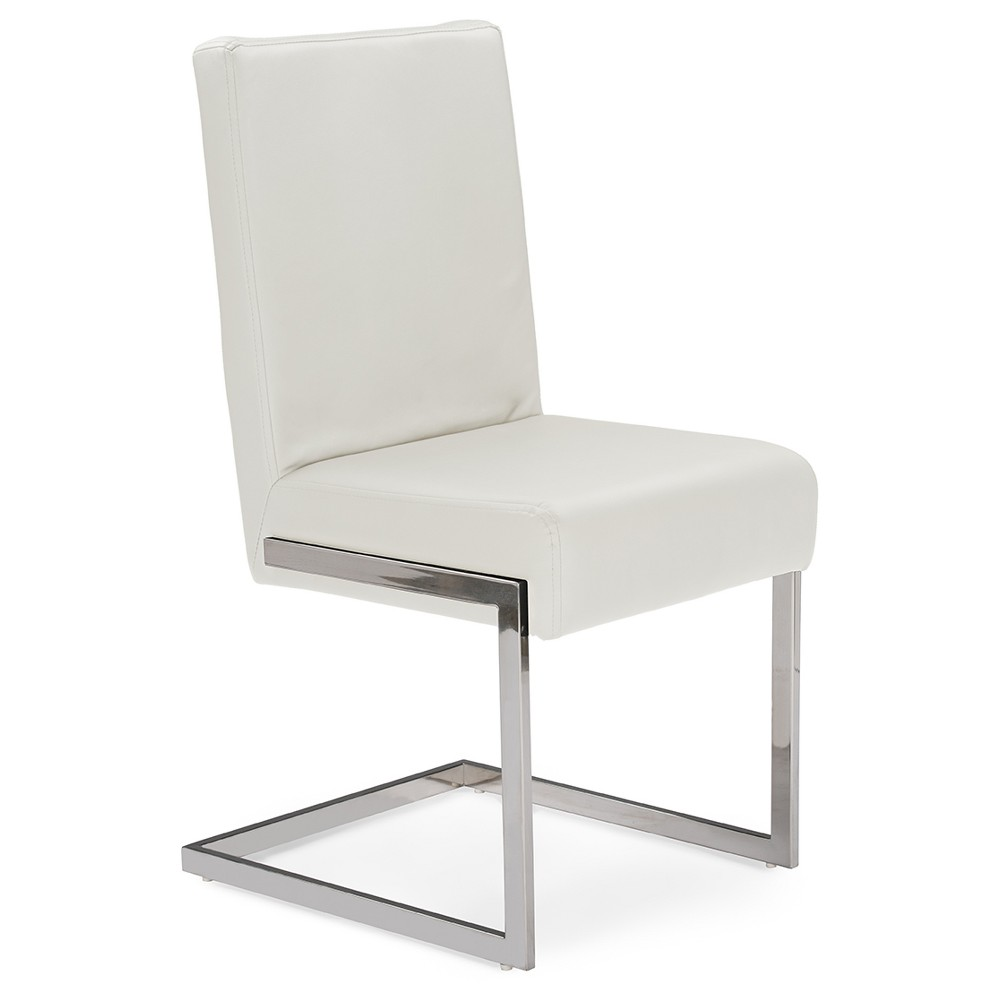 Toulan Modern & Contemporary White Faux Leather Upholstered Stainless Steel Dining Chairs (Set of 2) - Baxton Studio