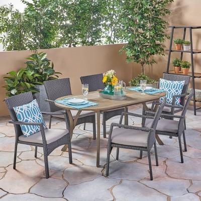 Landon 7pc Wood & Wicker Dining Set - Gray - Christopher Knight Home