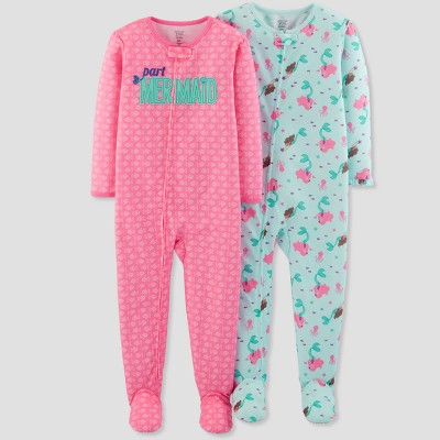 Baby Girls' Mermaid Footed Sleeper Pajama Set - Just One You® made by carter's Pink 12M