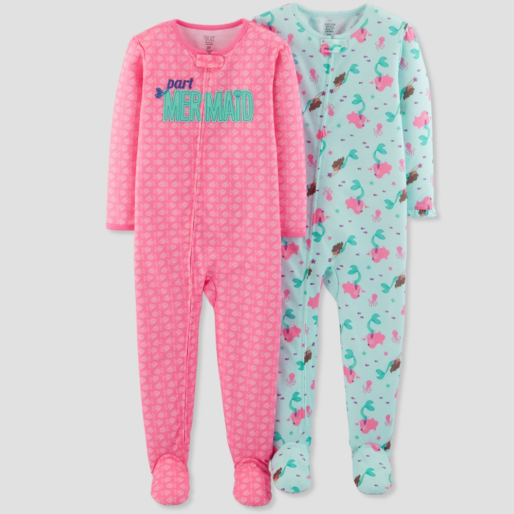 Toddler Girls' Mermaid Footed Sleeper Pajama Set - Just One You made by carter's Pink 4T