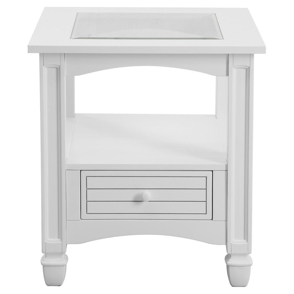 Bayside Coastal End Table - White - Treasure Trove