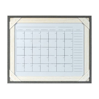 "16"" x 20"" Framed Reclaimed Crosshatch Dry Erase Wall Calendar Gray/White - Prinz"