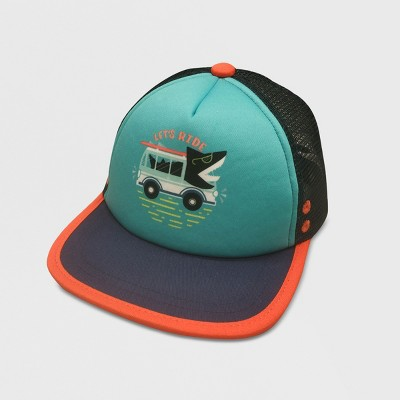 Toddler Boys' Shark Print Baseball Hats - Cat & Jack™ Blue/Orange 2T-5T