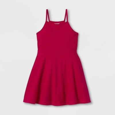 Girls' Cotton Sleeveless Dress - Cat & Jack™ Dark Pink