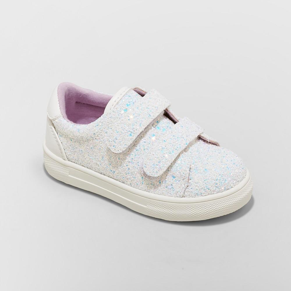 Toddler Girls' Kaedence Glitter Sneakers - Cat & Jack White 12