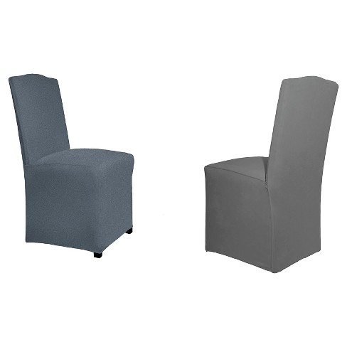 Steel Reversible Stretch Fit Dining Chair Slipcover Long - Serta - image 1 of 3