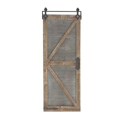 "67"" x 25"" Farmhouse Distressed Wood and Iron Barn Door Wall Panel - Olivia & May"