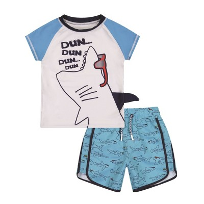 Andy & Evan Child (3-9 Years) 2-Piece Rashguard Set in Light Blue, Size 4T