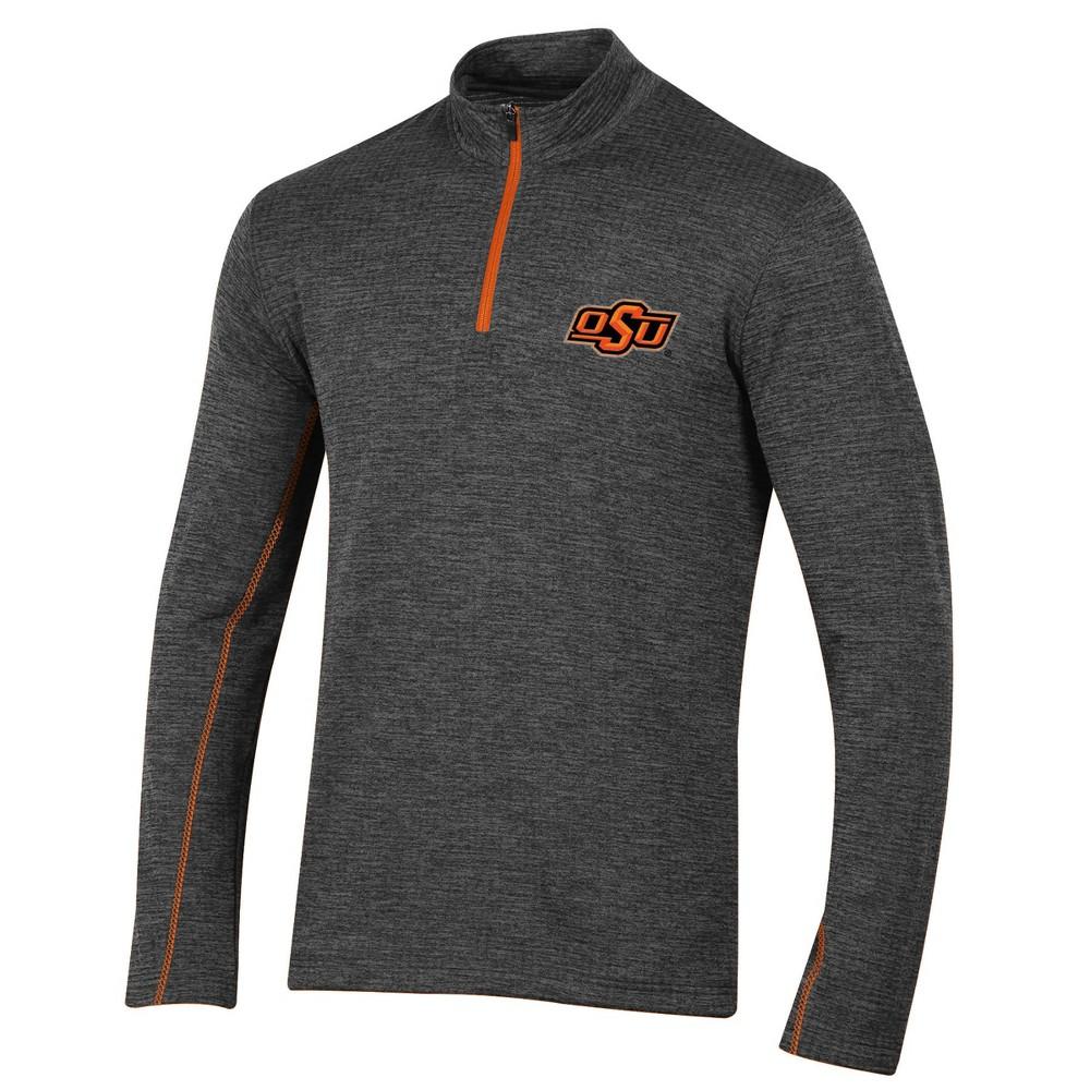 Oklahoma State Cowboys Men's Long Sleeve Digital Textured 1/4 Zip Fleece - Gray L