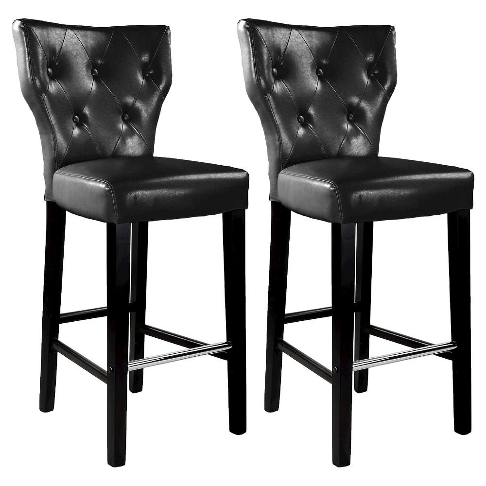 31 Kings Tufted Bonded Leather Barstool - Black (Set Of 2) - Corliving, Black Brown