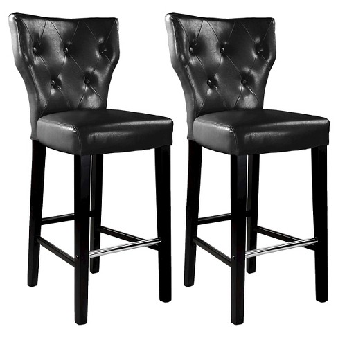 Peachy 31 Kings Tufted Bonded Leather Barstool Black Set Of 2 Corliving Lamtechconsult Wood Chair Design Ideas Lamtechconsultcom