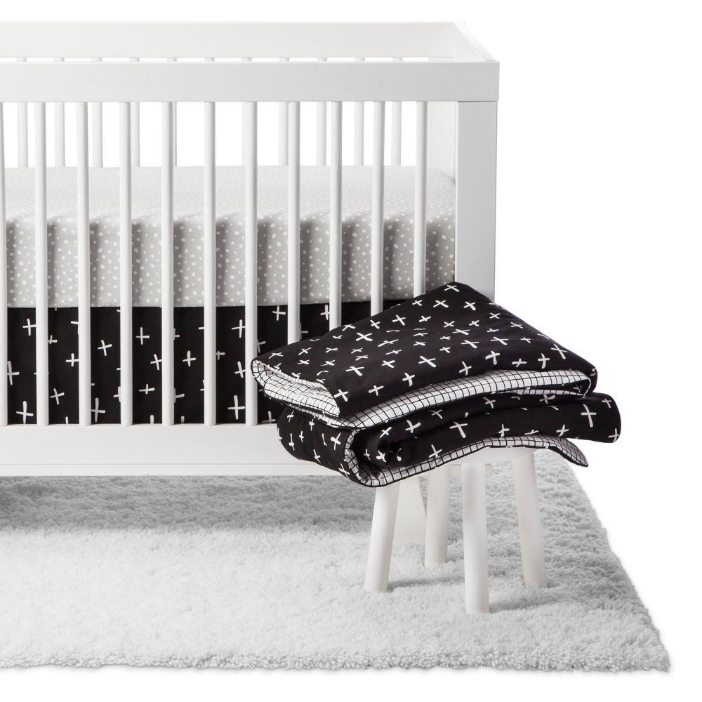 Image of Babyletto Crib Bedding Set - Tuxedo Monochrome - 5pc, Black
