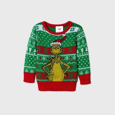 Baby Grinch Pullover Ugly Christmas Sweater - Green Newborn