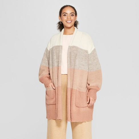 c9488c62989 Women s Plus Size Striped Long Sleeve Cardigan - Who What Wear™   Target