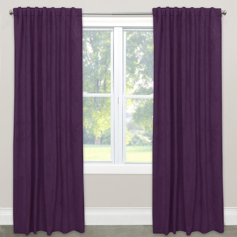 Velvet Window Curtain Panels Aubergine - image 1 of 5