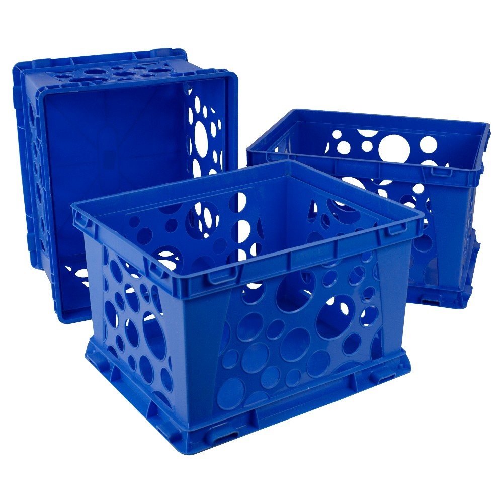 Storex Large Storage and Transport File Crate 3ct - Blue, Black