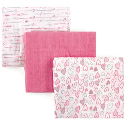 Luvable Friends Baby Girl Muslin Cotton Swaddle Blanket, Love, One Size