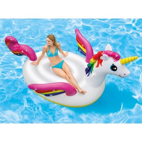 Intex Giant Inflatable Magical Mega Unicorn Island Ride On Swimming ...