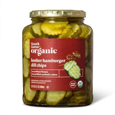 Organic Kosher Hamburger Dill Pickle Chips - 32 fl oz - Good & Gather™