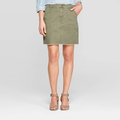 view Women's Utility Mini Skirt - Universal Thread Olive on target.com. Opens in a new tab.