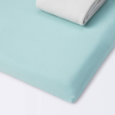 Fitted Play Yard Jersey Sheet - Cloud Island™ Light Green/Gray 2pk