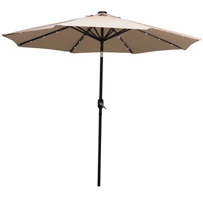 Aluminum Market Tilt Solar Patio Umbrella 9' - Beige - Sunnydaze Decor