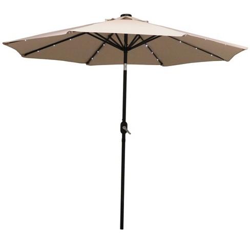 Aluminum Market Tilt Solar Patio Umbrella 9' - Beige - Sunnydaze Decor - image 1 of 4