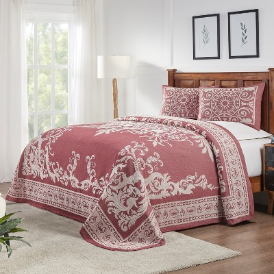 Traditional Medallion Lightweight Textured Woven Jacquard Cotton Blend 3-Piece Bedspread Set, Queen, Berry Red - Blue Nile Mills