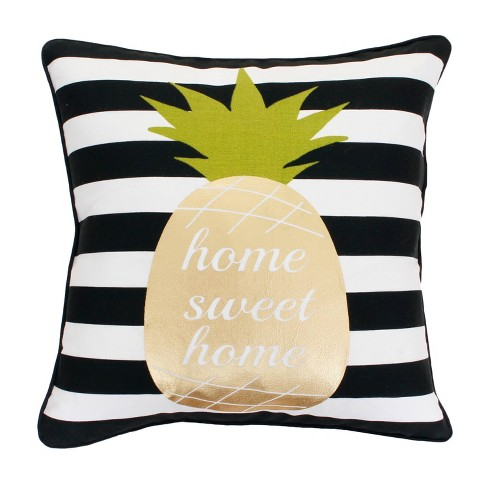 "Dcor Therapy 18""x18"" Good Vibes Pineapple Throw Pillow Black/White - image 1 of 4"