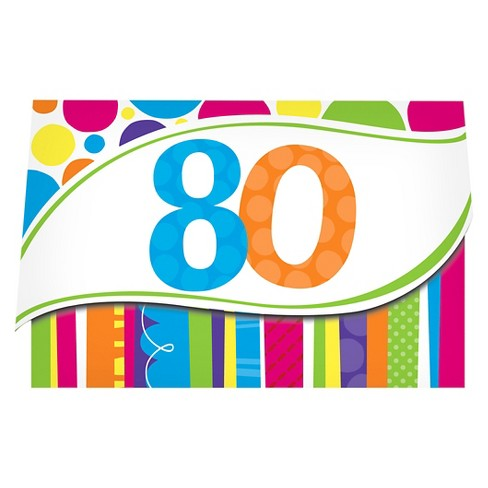 8ct Bright And Bold 80th Birthday Invitations Target