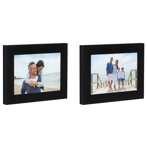 Americanflat Picture Frame in Black MDF / Shatter Resistant Glass with Easel Stand & Horizontal and Vertical Formats - Pack of 2 - Multiple Sizes - image 1 of 4