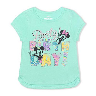Disney Girl's Minnie Mouse Sparkly Birthday Shirt For Kids