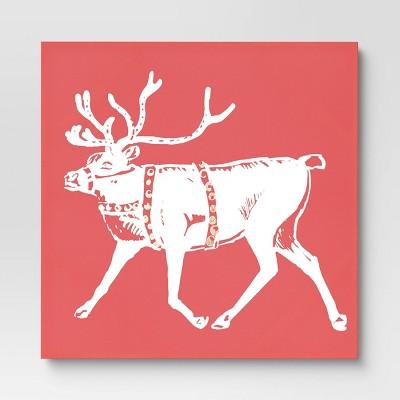 "30"" x 30"" Reindeer Unframed Wall Canvas Deep Red - Threshold™"