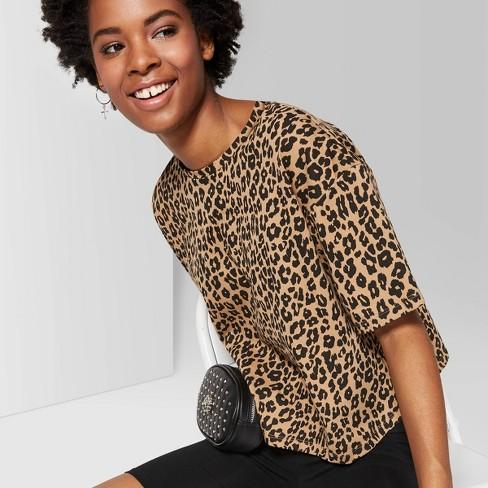 0485c26af2f2 Women's Leopard Print Short Sleeve Oversized Crewneck Boxy T-Shirt - Wild  Fable™ Brown : Target