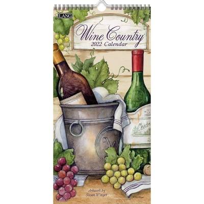 "2022 Vertical Wall Calendar 7.75""x15.5"" Wine Country - Lang"