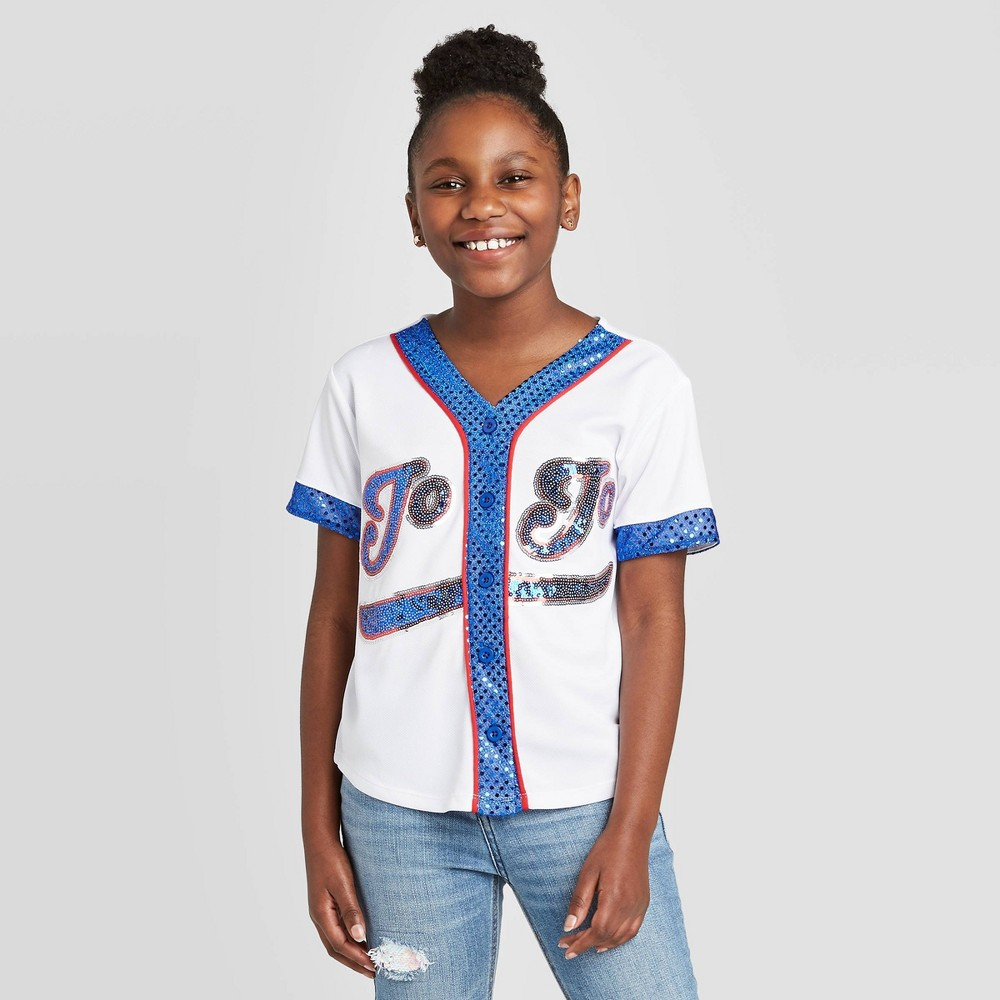 Image of Girls' JoJo's Closet Baseball Jersey - White L, Girl's, Size: Large